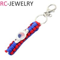 Wholesale Paracord Survival Keychain - U.S.A flag Outdoor Survival Kit Parachute Cord Keychain Military Emergency Paracord Rope Key Chain Ring