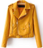 bayanlar yumuşak deri ceketler toptan satış-Sonbahar Yeni Kısa Sahte Yumuşak Deri Ceket Kadın Moda Fermuar Motosiklet PU Deri Ceket Bayanlar Temel Sokak Ceket