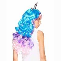 ingrosso regali arcobaleno per i bambini-Rainbow Unicorn Cosplay Wig Fascia Costumi di Halloween per il compleanno di un bambino adulto Addio al nubilato Hen Party Girl Notte regalo di decorazione