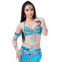 ingrosso danza del ventre di bollywood-Cintura donna sexy danza del ventre top reggiseno cintura in rilievo 2 pezzi di danza del ventre costume vestito set reggiseni cintura vestiti femminili di Bollywood