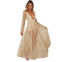 Wholesale vestidos de fiesta online - Sequin Maxi Long Dresses Women Bodycon Autumn Mesh Gold Dresses Sexy Elegant Party Dress Vestidos De Fiesta Vestido New