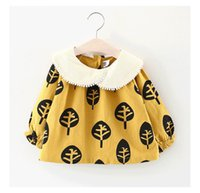 Wholesale cotton bud wholesale online - 2018 INS hot styles New spring girl kids tree print dress kids pet pan collar long sleeve elegant dress