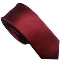 costume skinny bordeaux achat en gros de-Tenue de costume pour hommes Nouvelle conception Bordeaux Rouge Unie Cravate en microfibre tissée jacquard tissée Cravate skinny Cravate 6cm Robe Chemise Mariage Cravate