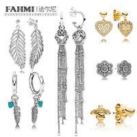 taç takma toptan satış-FAMHI 100% 925 Ayar Gümüş 1: 1 Otantik Klasik Yay Taç Kar Tanesi Kalp Şekli Glamour Kadın Düğün Damızlık Küpe Takı