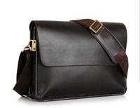 Wholesale mens black briefcase - Brand Designer Mens Bag Fashion 100% Genuine Leather Bags Briefcase Business Shoulder Messenger Bags For Men Man's Bag black brown