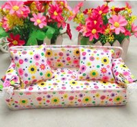 Wholesale Dollhouse Miniature Sofa - Wholesale- WXFTDMULIUFENG Chic Mini Dollhouse Furniture Soft Flower Sofa Couch With 2 Cushions Miniature Toys For Kids Pretend Play