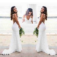 Wholesale simple style wedding dresses for sale - Group buy Sexy Lace Wedding Dresses Country Style Count Train Deep V Neck Backless Wedding Dress Hoho Cheap Handmade Mermaid Bridal Gowns Simple Wear