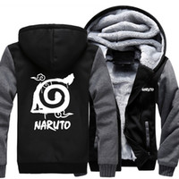 Wholesale uchiha hoodie - 2018 New Naruto Hoodie Anime Uchiha Sasuke Cosplay Coat Uzumaki Naruto Jacket Winter Men Thick Zipper Luminous Sweatshirts USA Size