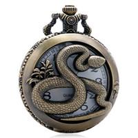 relógio projetado chinês venda por atacado-Bronze 3D Chinese Design Série Zodíaco Oco de Quartzo Relógio de Bolso Do Vintage Homens Caso Com Colar de Corrente para Homens Mulheres presentes
