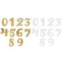 ingrosso centerpieces acrilici per matrimoni-0-9 Numeri in piedi da tavolo 10 pezzi Acrilico trasparente per matrimoni Eventi in festa Decorazione Centrotavola in argento dorato Bar Ristoranti Caffè