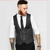 ingrosso maglia grigio nero-abito da sposo nero grigio abiti da uomo per matrimonio 2018 nuovi groomsmen vestibilità slim fit uomini d'affari vestono abiti da cerimonia