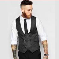 chalecos de boda para hombre negro al por mayor-Negro gris novio chalecos traje para hombre para la boda 2018 nuevo slim fit groomsmen chaleco hombres de negocios chaleco ropa formal