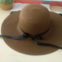 ingrosso nastro jacquard d'epoca-BONJEAN donna cappello estivo cappello di paglia vintage con nastri Bow Wide Large tesa larga cappello cappello cappelli da sole da spiaggia donna moda casual Panama S18101708