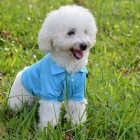 precio polo al por mayor-Camisas de polo para perros de moda para la primavera y el verano Ropa colorida para mascotas Material poromérico para pequeñas mascotas para bebés Lavado fácil Precio de fábrica Ropa para perros