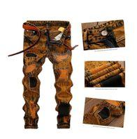 Wholesale plant s light - Men Retro Jeans Fashion Personality Hole Patch Slim Straight Jeans Pants for Male Denim Plant Plug Size 28-42
