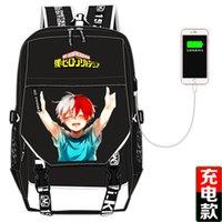 ingrosso gli zaini dei sacchetti di anime scuola-Alta qualità My Hero Academia Anime Zaino stampa Bakugou Katsuki Cosplay Canvas School Bags Zaino per laptop di ricarica USB