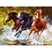 ingrosso tre pattini a cavallo-Nuovo dipinto diamante 5D tre cavalli al galoppo soggiorno decorazione camera da letto