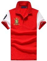camisas de polo diseñadas al por mayor-Alto grado 2019 diseño americano verano primavera hombres camisa de polo de algodón para hombre camisas de polo tops envío gratis