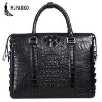 крокодиловый портфель оптовых-Business men bag briefcase genuine leather crocodile skin  laptop briefcase alligator bags black HUSBAND GIFT