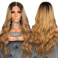 Wholesale black honey blonde ombre online - Sexy Glueless Honey Blonde Ombre Lace Front Wigs With Baby Hair Black Root Loose Wave Synthetic Wig For Black Women