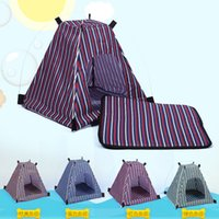 Wholesale pet house beds for sale - Pet Dog Cat Stripe Tent Outdoor Kennel Removable Detachable Canopies Waterproof Oxford Cloth Travel Pet Bed Houses color AAA967