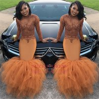 Wholesale Illusion Prom - Dust Orange Long Sleeves Mermaid Prom Dresses 2018 Beads Appliques Sequins Long Ruched Ruffle Evening Gown BA8084