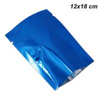 ingrosso sigillatore di calore del pacchetto-12x18cm 100 Pz Blu Foglio di Alluminio Piatto Aperto Top Borse Sigillante Sigillante Termico Cibo Secco Fiori Imballaggio Sacchetto Vuoto Mylar Caffè Bean Baggies