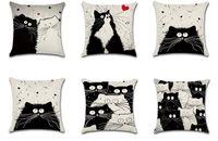 totoro bed al por mayor-Envío de la gota Anime Chinchilla Totoro funda de almohada funda de cojín de lino de algodón fundas de almohada sofá cama decorar almohada cubre 45 * 45 cm DYC16
