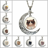 Wholesale Gemstone Cat - Cute Kitty Cat Totem Time Gemstone Chokers 4*3.5cm Hollow Moon Pendants Designer Women Men Necklaces Jewelry Mother Day's Gifts