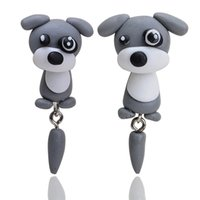 Barato Brincos Polímero Argila-Handmade 3D Animal Gray Dog Polymer Clay Ear Studs Cartoon Pet Brinco Moda Jóias Cartoon Earrings Mulheres Gift D448L