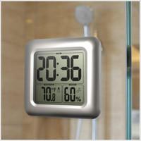 büyük saat göstergesi toptan satış-Büyük Oda Kapalı Higrometre Su Geçirmez Duş Zaman Izle Dijital Banyo Mutfak Duvar Saati Gümüş Büyük Sıcaklık ve Nem Ekran