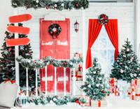 cenários exteriores do natal venda por atacado-Atacado Cenário de Natal Ao Ar Livre Photo Backdrops Fotografia fundo Inverno Scence Baby shower crianças fotos Xt-6950