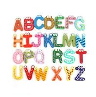 Wholesale wooden alphabet stickers resale online - Wooden Fridge Magnet Alphabet Intelligence Development Toy Kids Children Magnetic Sticker Classroom Office Whiteboard Gadget