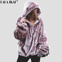 Wholesale sweatshirt pocket pattern - Chic Thick Striped Pattern Loose Style Women Cap Hoodies Big Pocket High Street Oversize Female Fashion Sweatshirt Swr0275 -45