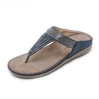 625fe3d7b56a84 Women Summer Sandals Flip Flops Rhinestone Crystal Mules Slides Silppers Soft  Bottom Comfort Flat Heel Shoes Plus Size