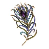 броши павлиньи булавки оптовых-Кристалл павлиньи перья брошь бохо эмаль булавки темно-синий 63 * 107 мм броши свадьба