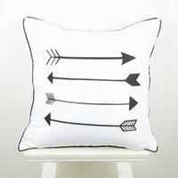 Wholesale Cm Hospital - Wholesale- 45*45 cm Home Decorative European Black White Arrow Throw Pillow Case for Wedding Gifts capa de almofada