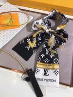 ingrosso sciarpe a catena-100% seta del nastro della sciarpa delle sciarpe di stampa della lettera della catena della serratura della chiave della serratura della sciarpa 100% di seta di disegno della celebrità di alta qualità 120 * 7cm del nastro