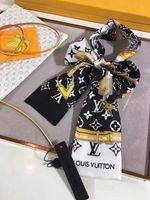 kettendruck seidenschals groihandel-Hochwertige Promi Design 100% Seidenschal Stirnband Frau Key Lock Kette Brief Druck Schals Tasche Band 120 * 7 cm