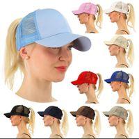Wholesale women visors - women CC Ponytail Baseball Cap High Bun Messy Adjustable Mesh Visor Sun Cap cc cap KKA4383