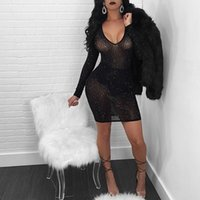 Wholesale women gauze long dresses - Forest Sexy Mesh Rhinestone Long Sleeves Club Dress Summer Women V Neck See Through Sequined Decorative Black Gauze Dress