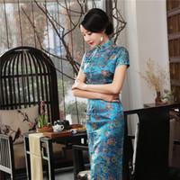 cheongsam long chinois plus la taille achat en gros de-Plus La Taille 3XL Femmes Qipao Col Mandarin BLEU Robes Femme Satin Longue Robe À Manches Courtes Cheongsam Style Chinois Vestidos