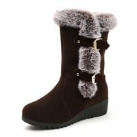 botas de nieve de piel marrón de las señoras al por mayor-Botas para la nieve de invierno para mujer Zapatos de señora de piel cálida Plataforma de media pantorrilla Botas para mujer Marrón negro Tallas grandes Botas Mujer Invierno