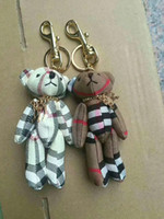 Wholesale titanium bear jewelry resale online - KEY HOLDER HOME DECOR BAG CHARM Delicate Orange Cute Novelty Car Keychain Jewelry Bag Accessories Charm Leather Bear Key Ring Holder