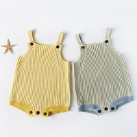 Wholesale sweater romper - Knitted romper 2018 hot selling INS spring autumn new INS style kids sleeveless Color collision braces knitted sweater high quality romper