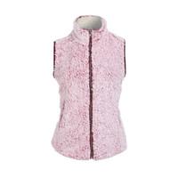 Wholesale womens winter jackets fur - Womens Sleeveless Pink Vest Winter Warm Outwear Casual Faux Fur Zip Up Sherpa Jacket Women's Vests M-2XL