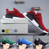 Wholesale factory racing - 2018 Human Race Factory Real Boost Yellow Red Black Orange Men Pharrell Williams X Human Race Running Shoes Sneakers size 36-47
