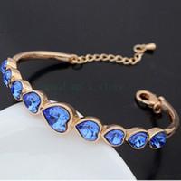Wholesale austrian swarovski crystal jewelry resale online - Gold Silver Bracelet se with Swarovski Elements Austrian Style Crystal Bracelet New Edition Heart Ornaments Jewelry