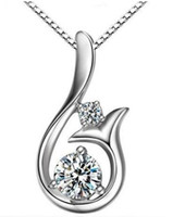 Wholesale gold mermaid jewelry for sale - Diamond Pendant Necklace Fashion Cubic Zircon Sterling Silver Plated Little Mermaid Pendant Necklace For Wedding Party Women Jewelry