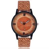 leather wrist ring UK - Vintage Annual rings wood grain watch Men man women Roman number casual quartz watches woman student leather wrist watches